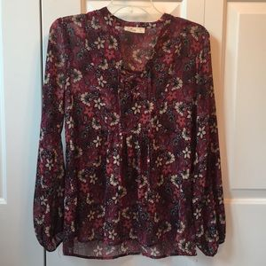 Floral patterned tunic with ties